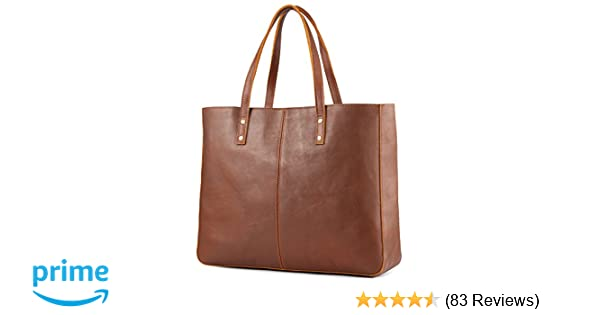cfeed9bd87b5a Amazon.com  Kattee Genuine Cow Leather Tote Bag Vintage Large Handbag (Brown)   Shoes