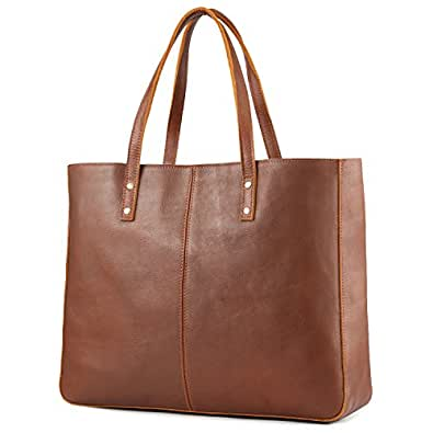 Amazon.com  Kattee Genuine Cow Leather Tote Bag Vintage Large ... 19a67099c0a55