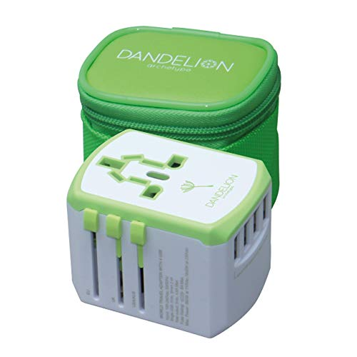 Dandelion Travel adapter European adapter Traveler accessory Universal 4 USB ports (UK USA AU Europe Asia) International Power Plug Adaptor for Multiple Socket Type C, A, I, G (Green)