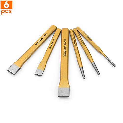 6-Piece Punch and Chisel Set, 3 Piece Digging Tools Chisel Set and 3 Piece Professional Mechanics Punch, Heavy Duty Taper Centre Pin Punches and Cold Chisel for Brickwork, Concrete, Metal, and Stone
