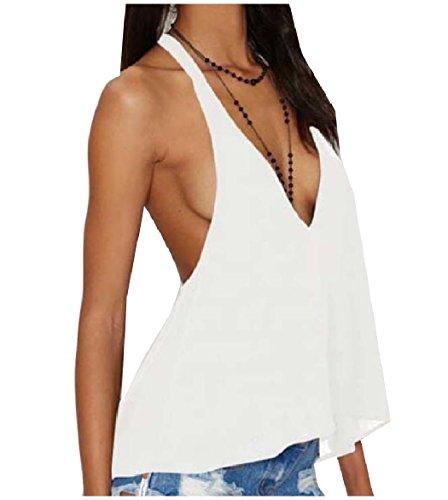 マットレス適格周辺VITryst Women's Deep V-neck Backless Pure Color Halter Tank Vest Blouse