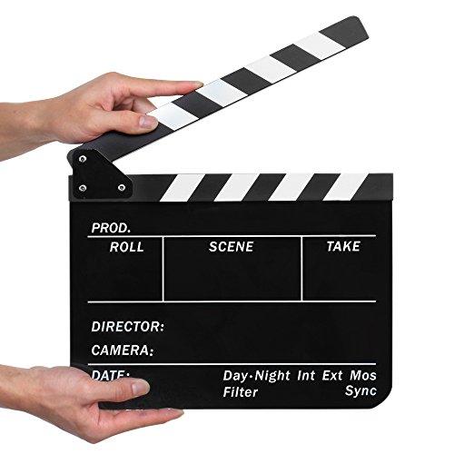 Flexzion Acrylic Plastic Clapboard Director's Clapper Board Dry Erase Cut Action Scene Slateboard For Hollywood Camera Film Studio Home Movie Video 10x12 with Black/White Sticks