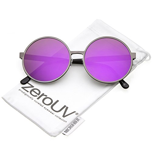 zeroUV - Oversize Metal Frame Color Mirrored Flat Lens Round Sunglasses 58mm (Gunmetal / Purple - Somewhere Sunday Sunglasses