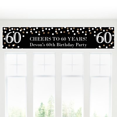 Big Dot of Happiness Custom Adult 60th Birthday - Gold - Personalized Birthday Party Decorations Party Banner