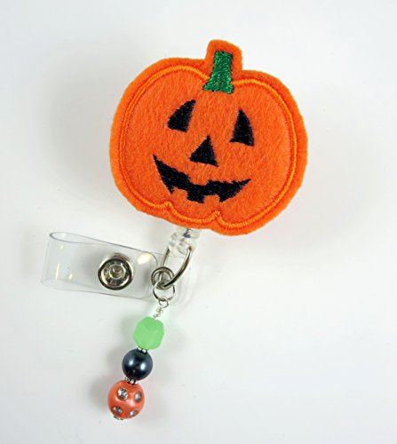 (Pumpkin Face Jack-O-Lantern - Nurse Badge Reel - Retractable ID Badge Holder - Nurse Badge - Badge Clip - Badge Reels - Pediatric - RN - Name Badge)