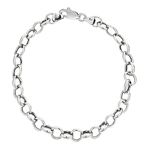 Sterling Silver Oval Rolo Cable Link Chain Anklet 10 Inches (Rolo Bracelet Oval Textured)