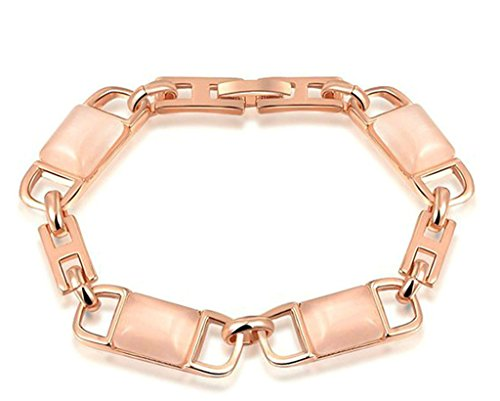 (Bishilin 18K Gold Plated Women Chain Bracelets Rose Gold Nugget Cut Cubic Zirconia Rhinestone Inlay 160.9CM )