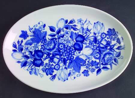 Portmeirion Harvest Blue Oval Platter 12 7/8