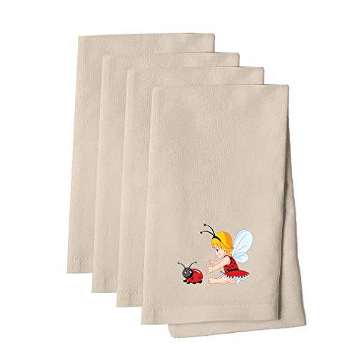 Little Girl With Wings And Ladybird Cotton Canvas Dinner Napkin, Set of 4