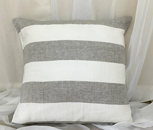 (A pair of Grey and White Wide Striped Natural Linen Euro Sham Covers, 16x16 To 30x30 Decorative Throw Pillow Cover, Reversible, Invisible Zipper Closure, FREE SHIPPING)