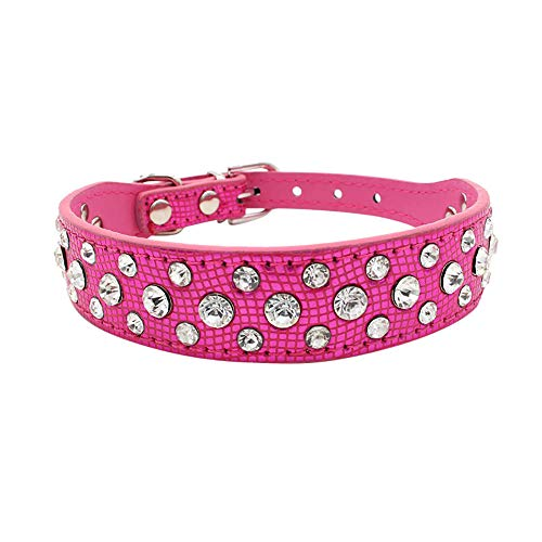 (Rhinestones Dog Collar Exquisite Adjustable Diamond Dog Puppy Pet Collars Water Drill Dog Pet Necklace Pet Jewelry Pet Memorial Cat Jewelry Dog Charms Cat Jewelry Pig Sweet Collars (Hot Pink, L))