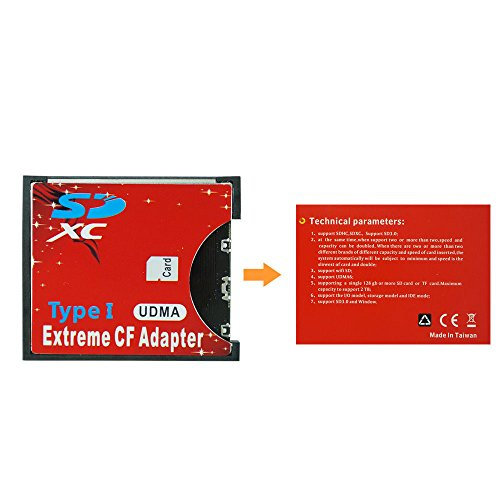 Adventurers Extreme Single Flash SD MMC SDHC SDXC Slot to Standard CF Compact Flash Type I Memory CF Card Adapter High Speed for Nikon Cannon Camera (SD-CF Adapter) by Adventurers (Image #6)
