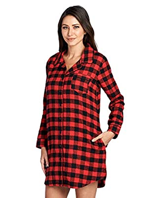 Ashford & Brooks Women's Flannel Plaid Long Lounge Shirt Sleep Nightshirt