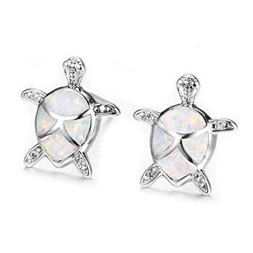 - Hermosa Mom Gifts 925 Sterling Silver Sea Turtle Blue Opal Women Pendant Necklace Earrings (Earrings003-white)