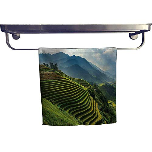 Mu Bamboo Dish Towel - Leigh home Absorbent Towel,Terrace Rice fiel mu g chai yenbai Northern Vietnam ,spa, Gym etc, Strength, high Absorbency and Fast Drying W 20