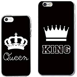 iPhone5+6PLUS Couple Case for Best Friend or Lover-TTOTT Unique King Queen Crown Stylish Ultra-Slim Bumper Protective Back Case for iPhone[Left for iPhone 5/5S Right for iPhone 6PLUS/6S PLUS]