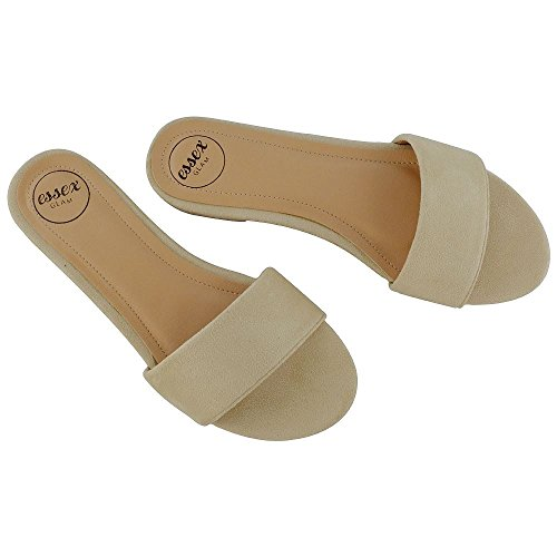 ESSEX GLAM New Womens Flat Sandals Slip On Sliders Ladies Casual Formal Smart Mule Shoes Nude Faux Suede Ev2SfDN