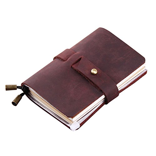 Leather Travel Journal, Handmade Travelers Notebook Refillable, Gift for Men & Women, Perfect to write in, Pocket Size Vintage Travel Diary 5.2 x 4, 3 Inserts, 192 Pages