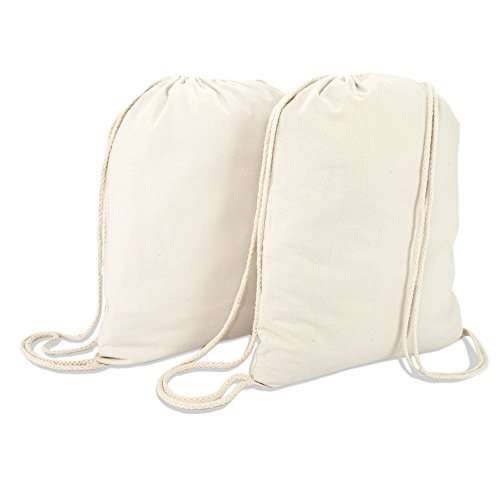 DALIX Canvas Drawstring Bag String Backpack Gym Mens Womens Natural Beige 2 Pack