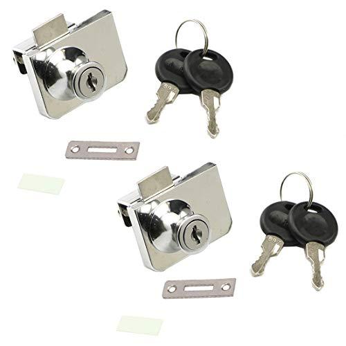 ZXHAO Zinc Alloy Cabinet Display Case Showcase Double Open Glass Door Lock 2pcs with Keys
