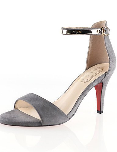 GGX/ Damenschuhe-High Heels-Lässig-Andere Tierhaut-Kitten Heel-Absatz-Wedges / Rundeschuh-Schwarz / Rot / Mandelfarben gray-us4-4.5 / eu34 / uk2-2.5 / cn33