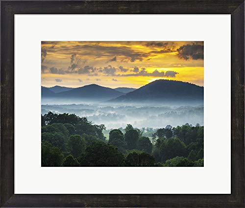 Asheville NC Blue Ridge Mountains Sunset and Fog Landscape Framed Art Print Wall Picture, Espresso Brown Frame, 21 x 18 inches -