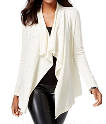 INC Womens Embellished Draped Front Cardigan Sweater Buttercream Small