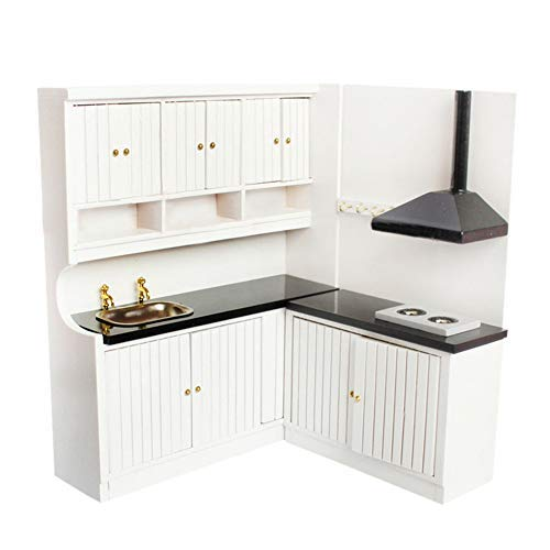 Kitchen Cupboard RemeeHi Dollhouse Mini Furniture Model Kitchen Kit Kitchen+Fourdoor Closet+Table +4Chairs