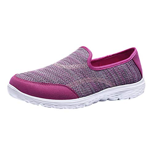 ℱLOVESOOℱ Women Fashion Sneakers Mesh Breathable Flat Bottom Slip-Ons Runing Walking Shoes Comfortable Outdoor Athletic Shoes Hot Pink