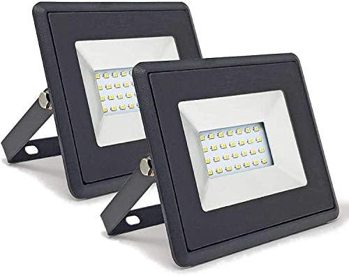 Conjunto de 2 - ZONE LED SET - 20W - Led Foco, Proyector Led - Luz Blanca (6400K) - 1700 Lm - Equivalente incandescente 100W - Ángulo de haz 110° - ...