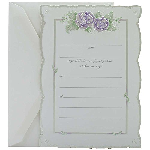 Wedding Grape Invitations - JAM PAPER Wedding Fill-in Invitations Set - Purple Rose with Metallic Border - 25/Pack