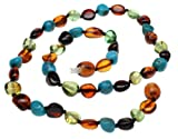 Amberbeata Boy Girl Necklace for Kid Cherry and Cognac Baltic Sea Amber, Green Caribbean Amber, Natural Turquoise Beads