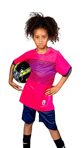 (Premium Soccer Uniforms for Kids Sizes 4-12, Boys/Girls Sports Activewear Color Shirts - Black Shorts (Pink, Small))