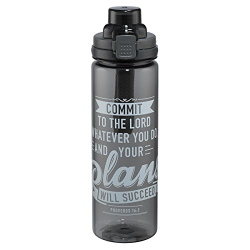 Your Plans Will Succeed Black Plastic Water Bottle - Proverbs 16:3