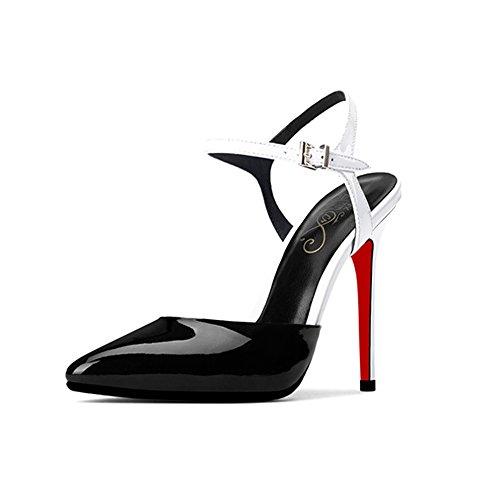 Alto Eu35 Negro Zapatos Punta Estrecha cn34 Femeninos Tacón Color Verano Tamaño De Zhirong Sandalias Blancas uk3 wUqaIa