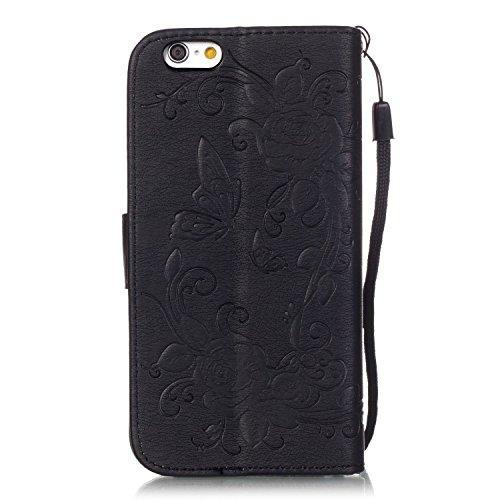 Voguecase® Pour Apple iPhone 6 Plus/6s Plus 5,5 Coque, Etui Housse Cuir Portefeuille Case Cover (Papillon IV-Noir)de Gratuit stylet l'écran aléatoire universelle