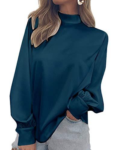 Printemps Tee Tops Roul Manches Hauts Paon Chemises Automne Femmes Chemisiers Bleu Couleur Unie Mode Lanterne Shirts Col Blouse 6r67q