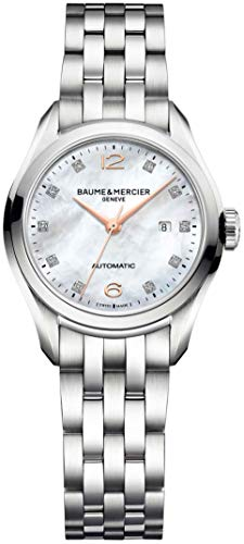 Baume & Mercier Clifton Womens Diamond Automatic Watch - 30mm Analog Mother of pearl Face Ladies Watch with Second Hand and Date - Swiss Made Stainless Steel Luxury Dress Watches For Women 10151