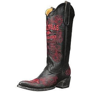 NCAA Arkansas Razorbacks Women's 13-Inch Gameday Boots, Black, 5 B (M) US