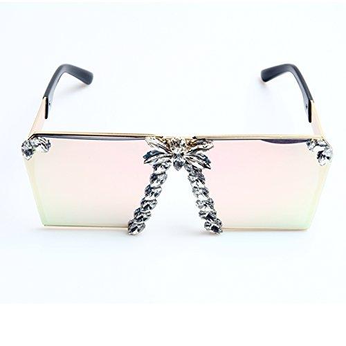 Espejo De Mujeres Cristal Uv400 Enormes Gafas Tonos Las Gafas De Colorido De Unas Sol Rosa Rosados Para De Sol pink Lujo De Mujer TIANLIANG04 w84qYxqR