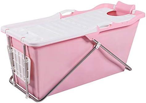 バスタブ折り畳み式の入浴バレル大人のバスタブ浴室コーナー自立型ポータブルシャワーバケツ大厚いプラスチック頑丈プールタブ (Color : Pink)