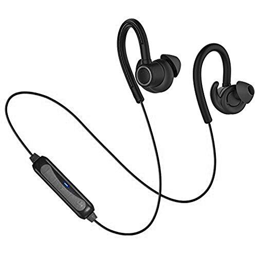 Sports Bluetooth Headphones,POWERbeast Wireless Stereo Bluetooth Earbuds with Hooks,Sweatproof and Secure Fit In Ear Headset for Running with Mic,6 Hour Working Time(Black)
