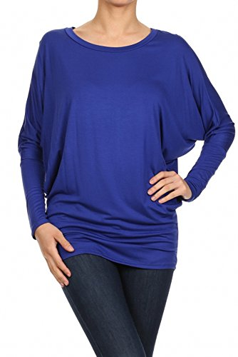 Sassy Apparel Womens Dolman Sleeve Tunic Knit Top with Scoop Neckline (Large, Royal Blue)
