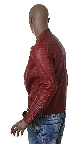 Redbridge Herren Jacke Biker Übergangs-Jacke Kunstleder Jacke M6028 rot