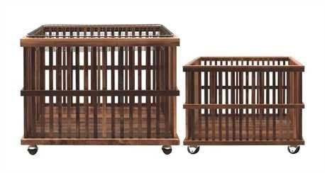 30''L x 20''W x 24''H & 25''L x 16''W x 18''H Wood Slatted Baskets On Casters w/ Metal Wire Tray, Set of 3 by Creative Co-op