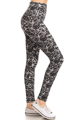 Leggings Depot Yoga Waist REG/Plus Women's Buttery Soft Workout Gym Leggings (Prestige Marble, One Size (Size 0-12))