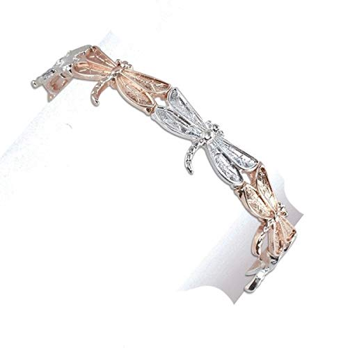 Periwinkle by Barlow - Two-tone Silver and Gold Dragonfly Bracelet ()