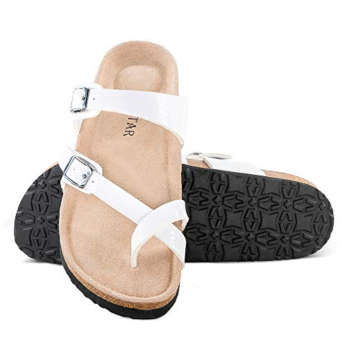 Mayari Leather Sandals,Adjustable Flat Casual Slippers for Women & Ladies, Flip-Flops Ring Open Toe Slide Cork Footbed for Teenagers/Girls White ()