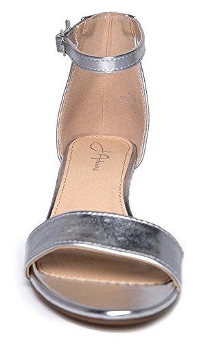 J. Adams Daisy Mid Heel Sandal, Silver PU, 10 B(M) US by J. Adams (Image #4)