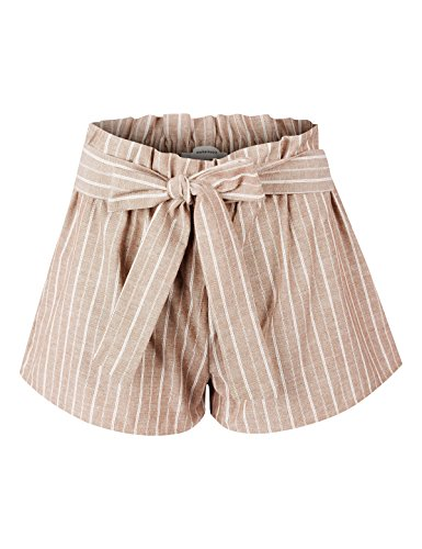 makeitmint Women's Pin Stripe Elastic High Waist Pocket Shorts w/Front Tie Belt YBS0017-TAUPE-LRG